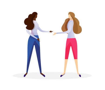 Coppia di giovani donne multirazziali in abbigliamento casual che agitano le mani isolate su priorità bassa bianca. Le amiche africane e caucasiche si incontrano. Amicizia. Piatto di vettore del fumetto. ClipArt.