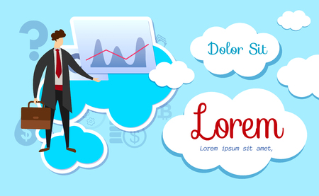 Business Strategy Workshop on Abstract Background with Clouds. Successful Businessman Character Analyzing Diagram on Screen. Coaching for Employees. Cartoon Flat Vector Illustration. Horizontal Banner