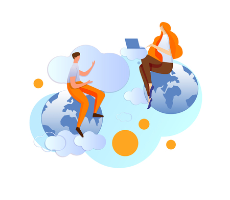 Man and Woman Communicating Using Internet Technology Using Laptop Sitting on Different Parts of Earth. Distant Chatting, Smart Tech and Gadgets Using in Human Life. Cartoon Flat Vector Illustration. Vectores