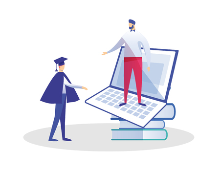 Young Man in Graduation Mantle and Academical Cap Stand near Books Pile Speaking with Teacher at Huge Laptop. E-Learning, Online Education, Getting Diploma Certificate Cartoon Flat Vector Illustration