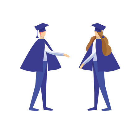 Young Man and Woman Dressed in Mantles and Academical Caps Greeting Each Other Isolated on White Background. University Graduation, Diploma Celebrating. Cartoon Flat Vector Illustration. Clip Art.