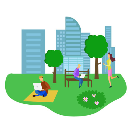 Man Sit Bench in Park Male Student Work Notebook on Green Grass Woman Jogging Run Vector Illustration. Freelance Outdoors Study Outside Nature Relaxation Health Training Sport Fitness