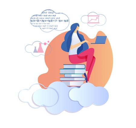 Young Woman Sitting on Big Pile of Textbooks Working on Laptop Studying Mathematics, Geometry Formulas. Female Student Preparing for Examination. University Education Cartoon Flat Vector Illustration Foto de archivo - 122989676