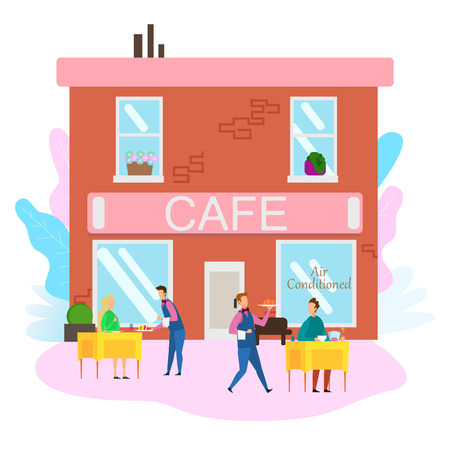 Waiter Serve Food to Cafe Customers Summer Terrace Table Outdoor Vector Illustration. Restaurant Building Exterior Architecture. Cartoon Man Woman Breakfast Dinner Lunch Coffe Drink at Cafeteria