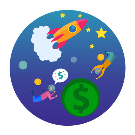 Man in Space Dollar Coin Planet Rocket Launch Vector Illustration. Sell Startup Idea Development Crowdfunding Money Investment Financial Profit Analysis Banking Loan Buy Business Company