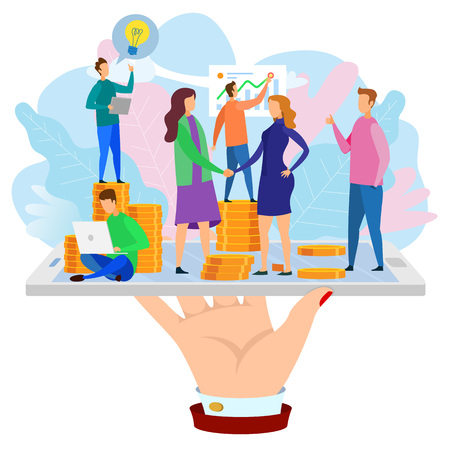 Woman Shake Hand Developer Team Report Growth Chart Hand with Phone Vector Illustration. Mobile Application Development Buy Operating Internet Business Make Financial Agreement Startup Investment