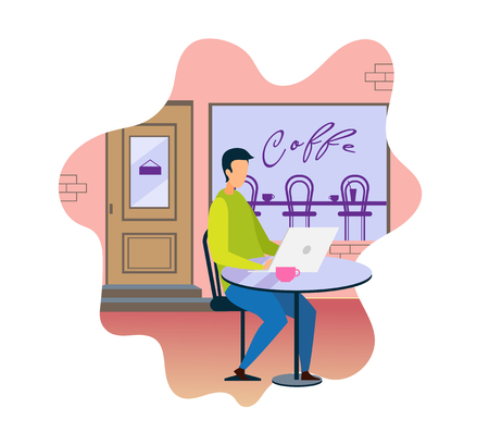 Man with Laptop Enjoying Hot Coffee in Coffee Shop Flat Cartoon Illustration Male Student Sitting in Cafe Using Wi-Fi Computer for Self Online Education Freelancer Managing Projects Surfing Internet