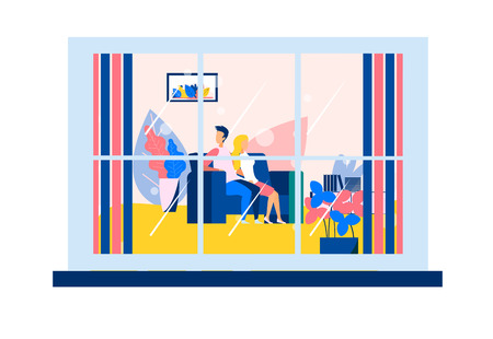 Couple in Living Room Sitting on Sofa View from Window from Outdoors Flat Cartoon Lifestyle Vector Illustration Relationships between Man and Woman Rest and Relaxation for Two Evening Recreation