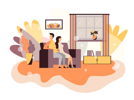 Troubles in Couple Relationship Vector Flat Design Cartoon Illustration Married Man Woman Lovers Sitting on Sofa in Modern Living Room Not Talking Guy Embracing Girlfriend with One Hand after Argument