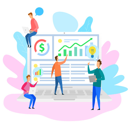 Cartoon People Team Analysys Financial Data Strategy on Notebook Screen Vector Illustration. Startup Idea Mobile Application Internet Business Service Development Marketing Management Teamwork