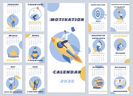 Inscription Motivation Calendar 2020 Cartoon. Motivational Calendar for Every Day. Airframe template for Year. Monthly Organizer with Motivational Inscriptions and Illustrations. Vector Illustration.
