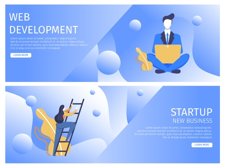 Set Flat Web Development, Startup New Business. Man Business Suit Sitting with Laptop his Lap. Woman Climbs Up Ladder. Efficient Analysis Process and Productivity Introduction Digital Projects.