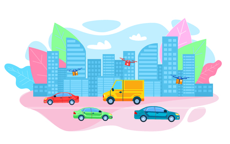 Express Drone Parcel Drugs Delivery to Customer Hospital Futuristic Flat Cartoon Future Medical Supplies Package Shipping by Air on Quadcopters Flying over Cityscape on Given Route Vector Illustration