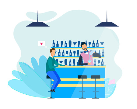 Man and Bartender Speaking about Love Intimate Talk Flat Vector Banner Illustration Professional Barman Standing at Counter Mix Shake Alcohol Make Beverage Male Visitor Sitting on Stool Waiting Order