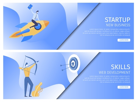 Set Startup New Business, Skills Web Development. Man Sits on Rocket. Man Suit Shoots Bow and Hits Target. Personal Strength Leads to Project Success. Landing Page Vector Illustration.