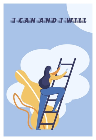 Flat Illustration I Can and I Will Lettering. Woman Climbs Stairs on Background Clouds. Motivation Helps You Find Strength to Overcome Obstacles. Strong Inspirational Saying Cartoon.  イラスト・ベクター素材