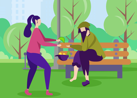 Woman Giving Money Workless Homeless Man Sitting on Bench in City Park Volunteer Donating Helping Person in Need Vector Flat Banner Illustration Poor Guy and Kind Girl Help Support Motivation Banner