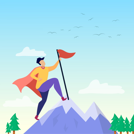 Super Man or Woman in Cloak Putting Flag on Mountain Peak Financial and Business Success Goals Achievement Motivation Great Mission Accomplishment Vector Flat Cartoon Illustration Purposeful People