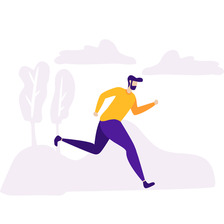 Hurried Agitated Man Moving Fast to Goal Successful Running Businessman Vector Avatar Character Deadline Business Challenge Energetic Dynamic Promotion Motivational Banner Natural Design Illustration