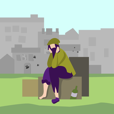 Homeless Jobless Dirty Man Wearing Tattered Clothes in Street Vector Flat Banner Sad Unemployed Poor Male Character Sitting on Trash Bin Cityscape Failure Bankruptcy Illustration Social Problem Vector