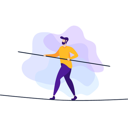 Man Walking Balancing with Briefcase on Long Wire Tightrope Risk Danger Business Challenge Human Determination Motivate Vector Flat Design Cartoon Inspiration Illustration Conquering Adversity Problem