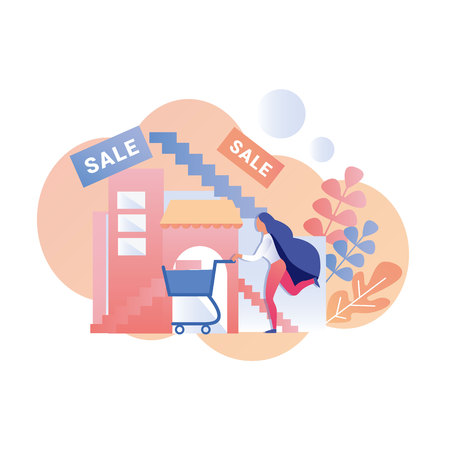Woman Hurrying for Sale Advertising Flat Banner Female Customer Running with Trolley Cart Vector Floral Style Illustration Shopping Mall with Stairs Backdrop Best Proposition Lowest Price Illusztráció