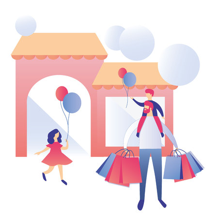 Happy Family with Shopping Bags Going out from Shop Mall Cartoon Father Character Holding Son on Shoulders Waiting Daughter Children with Balloons Flat Advertising Store Media Banner Discount Flyer