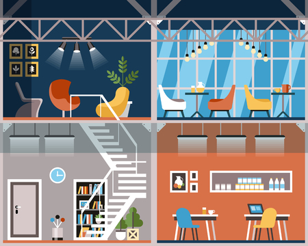 Vector Illustration Convenience Coworking Cartoon. Flat Banner Space for Work, Ideas and Creativity. Workplaces and Closed Offices are Equipped with High Quality Ergonomic Furniture and Stationery.