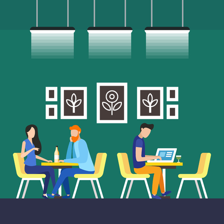 Permanent Tenants Coworking Vector Illustration. All Workplaces and Closed Offices are Equipped with High Quality Ergonomic Furniture and Stationery. Coworking Center Improves Performance.