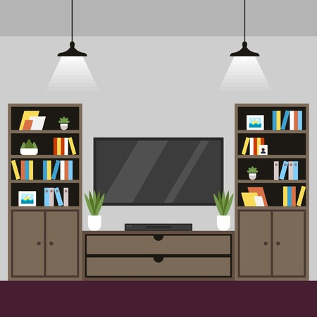 Vector Illustration Coworking Room Interior Flat. Separate Single Room with Table with Lamp. Coworking Conduct Lectures, Conferences and Literary Evenings. Minimalist Style, Plasma Wall.
