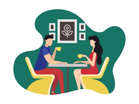 Coworking Rest and Relaxation Area Cartoon Flat. Resource Sharing Model to Reduce Operating Costs. People Met Cafe for Chat Over Cup Coffee or Tea. Girl and Guy are Sitting at Table. Иллюстрация