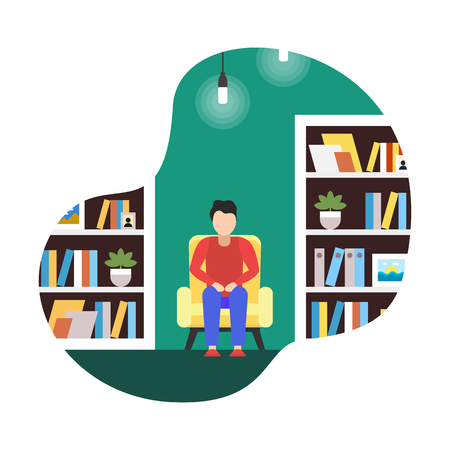 Flat Illustration Coworking Library, Cartoon. Interior no Frills, Reminiscent Library Rooms. Coworking Conduct Lectures, Conferences and Literary Evenings. Comfortable Quiet Place to Rest Noise. Vectores
