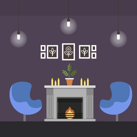 Living Room with Fireplace Coworking Cartoon Flat. For Wealthy People who do not Need Office, But Periodically Need Hold Meetings in Business Setting. Meeting Room with Fireplace and Armchairs.