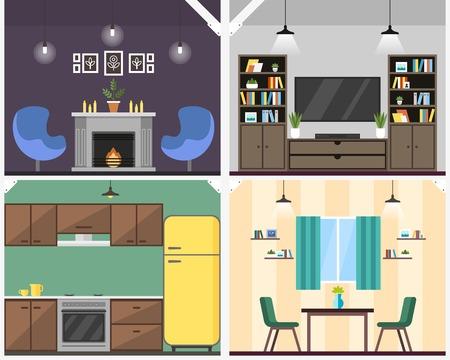 Ilustracja wektorowa coworking wnętrza mieszkania. Model współdzielenia zasobów obniża koszty operacyjne. Dostęp do wszystkich pomieszczeń wspólnych: salonu, kuchni, pokoju wideorozmów. Kuchnia, pokój dziecięcy i pudełka do przechowywania.