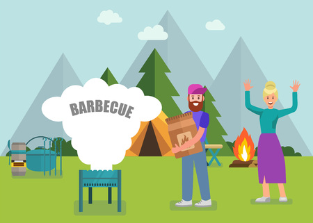 Happy Family Barbeque in Forest with Modern Equipment Advertising Banner Vector Man and Woman Cooking on BBQ Grill Using Ordered Tourist Accessories and Travel Gear Promotion Goods Flat Illustration