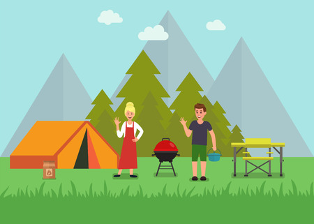Happy Forest Picnic with Tourist Gear Advertising Shop Flat Banner Smiling Woman Man Greeting Resting Outdoors Using Travel Furniture and Equipment Vector Couple Recreation Promotion Illustration