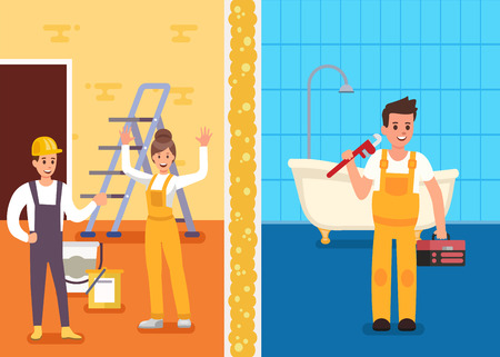 Repairs Room Professional Service Promotion Flat Banner Team of Happy Male Female Repairmen in Uniform and Man Mobile Plumber with Tools and Building Materials at Work Vector Advertising Illustration Stock Illustratie