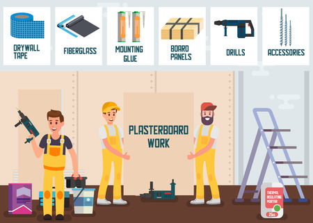 Plasterboard Work Service Online Store Advertising Flat Banner Vector Illustration House Repair Male Team in Uniform Installing Board Using Drill and other Building Materials, Accessories and Tools