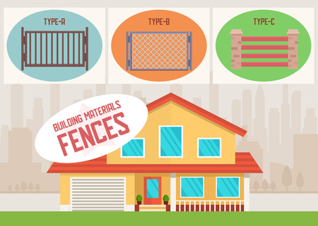 Building Materials Online Shop Fences Product for Sale Flat Banner Vector Illustration with Editable Information about Meshed Metal Bricken Wooden Goods House Exterior and Yard on City Landscape
