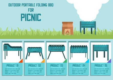 Online Shop with Offering Goods for Picnic Outdoors Advertising Banner with Vector Selling Product Cards Detailed Description Variety of Folding BBQ Grilles Flat Illustration Tourist Gear Set
