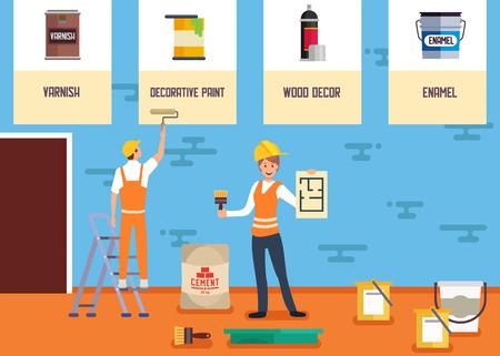 Dekorative Malerei Service Online-Shop Flache Banner Mann Maler Arbeiten mit Walzenbürste Frau Bietet Lack Dekorative Farbe Holzdekor Emaille Vektor Illustration Werbung Shop Landing Page Vektorgrafik
