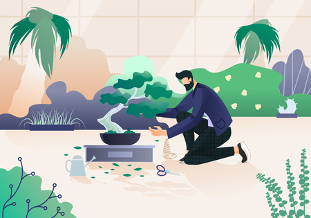 Young Bearded Man in Modern Clothing Enjoying Hobby Caring, Pruning and Trimming of Bonsai Tree in Beautiful Greenhouse. Plants Gardening, Traditional Asian Art. Cartoon Flat Vector Illustration.