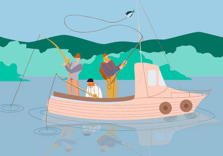 Men Fishing in Boat on Calm Lake or River with Mountains Landscape. Relaxing Hobby at Summer. Fishmen Stand with Rods Having Good Catch. Friends Spend Time Together. Cartoon Flat Vector Illustration.