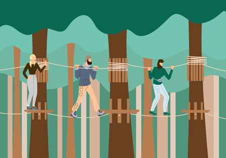 Young People Walking in Raw on Suspension Bridge in Mountains. Wild Nature Fun on Summer Vacation. Traveling, Leisure Time with Company Friends. Extreme Activity. Cartoon Flat Vector Illustration.