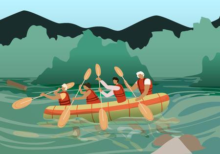 Jóvenes en Kayak Paddle cerca de Rocky Shore en día soleado. Naturaleza salvaje y diversión acuática en vacaciones de verano. Empresa Turística de Actividad Extrema y Deporte. Ocio. Ilustración de Vector plano de dibujos animados