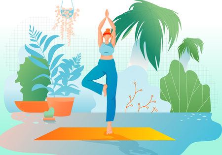 Girl at Greenhouse or Home Garden with Plants Stand in Yoga Asana. Relaxed Young Woman Enjoying Rest. Meditation. Urban Jungle. Meditation at Home, Healthy Lifestyle. Cartoon Flat Vector Illustration.