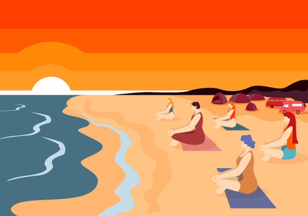 Group of Women Practicing Yoga on Beach at Sunset Time with Beautiful View of Down Sun And Calm Ocean Waves. Relaxation on Coast. Outdoors Meditation in Lotus Asana. Cartoon Flat Vector Illustration.