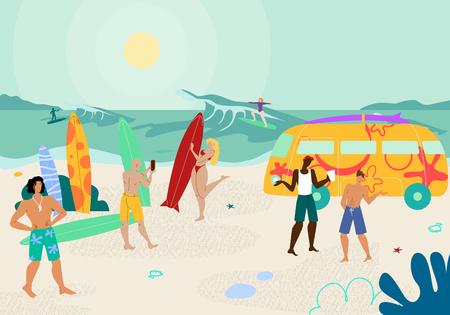 Fiesta en la playa tropical con gente disfrutando del caluroso verano. Hombres y mujeres jóvenes disfrutando de la actividad de surf en Sandy Seaside con grandes olas. Ocio de personajes jóvenes. Ilustración de Vector plano de dibujos animados. Ilustración de vector