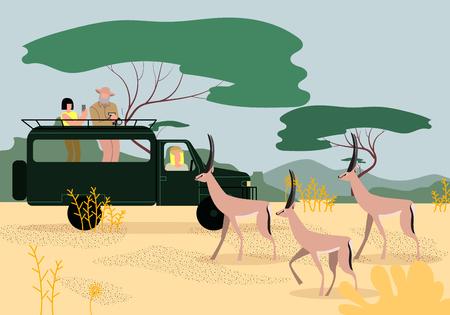 Turistas de hombres y mujeres que conducen un jeep en un safari en África, viajan y observan la vida silvestre en la sabana, hacen fotos en el teléfono y la cámara de fotos de hermosas gacelas. Ilustración de Vector plano de dibujos animados.
