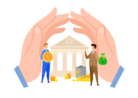 Bank Credit, Loan Payment Flat Vector Illustration. Men Holding Coin, Money Bag Cartoon Characters. Hands Shielding Banking House. Finance Investment, Deposit Withdrawal, Cash Exchange Vector Illustration